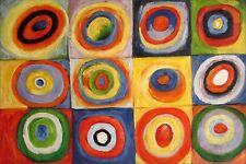 Kandinsky Squares w/ Concentric Circles Repro, Hand Painted Oil Painting 24x36in
