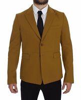 NEW $1900 DOLCE & GABBANA Blazer Jacket Yellow Cotton Stretch IT48 / US38 / M