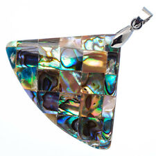 """Mother of Pearl Natural Abalone Sea Shell Fan Shape Pendant 2"""" Jewelry #18-Z"""
