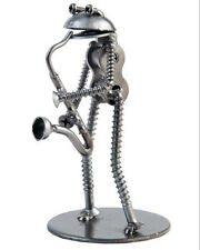 Hand Crafted Recycled Metal Frog Saxophonist Rock Band Art Sculpture Figurine
