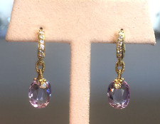 Judith Ripka18K Yellow Gold/Diamond/Amethyst Drop Earrings