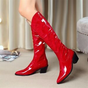 Fashion Patent Leather Wedge High Heel Knee High Boots Pointed Toe Rider Boots