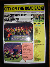Manchester City 2 Gillingham 2 - 1999 play-off final - framed print