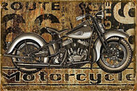 Metal Tin Sign motorcycle route 66 Pub Home Vintage Retro Poster Cafe ART