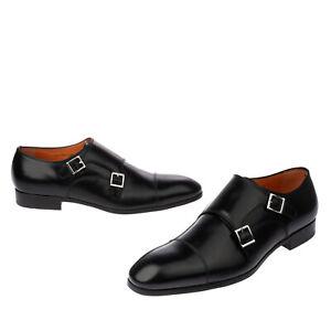 RRP €670 SANTONI Leather Monk Strap Shoes Mismatch Size L45.5 R44-44.5 Polished