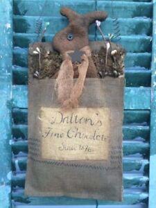 Wall Hanging Bunny Rabbit Bag Ornament Burlap Stocking Primitive Grungy Country