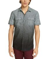 INC Mens Shirt Black Size Medium M Dip-Dyed Heathered Pockets Button Up $49 #094