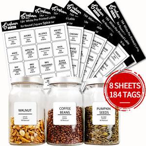 184pcs Spice Jar Labels Stickers Transparent Bottle Lable Kitchen Accessories