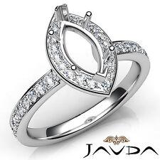 Halo Setting Marquise Diamond Semi Mount Engagement Ring 14k White Gold 0.45Ct