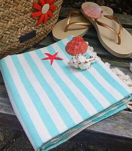 Set of 2 Fouta 100% Cotton Sea Green Peshtemal Beach Gym Spa  Towel Very Thin