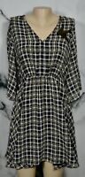 HIGHLINE NEW NWT Black White Tan Tartan Plaid Dress Small Cold Shoulder Sequins