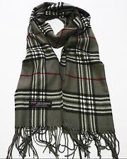 100% cashmere super soft, unisex scarf neck warmer plaid design color gray