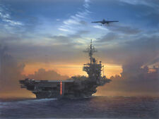 William Phillips SUNSET RECOVERY, Aircraft Carrier, CV 63, Giclee Canvas #74/75