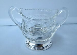 Vintage Sterling Silver Base Clear Glass Sugar Bowl Pristine Condition