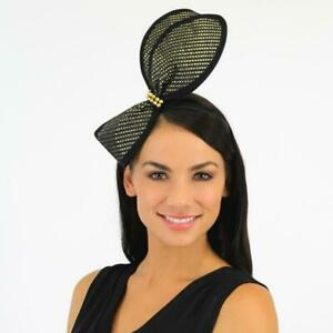 Jendi Black & Gold Bow Fascinator with a Gold Centre on a Headband