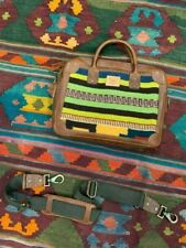 Will Leather Goods Aztec Oaxacan Briefcase Green Stripe NWT