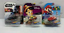 Hot Wheels Lot of 3 Star Wars, Disney, And Super Mario Character Cars - New