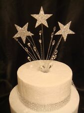 wired glitter silver star crystal trim anniversary birthday cake topper