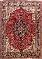 Vintage Floral Medallion Tebriz Area Rug Hand-Knotted Oriental Wool Carpet 8x12