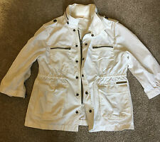 WOMENS DKNY JEANS CREAM LIGHTWEIGHT 3/4 LENGTH SLEEVE JACKET L LARGE UK 14 - 16