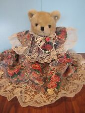 "13"" JOINTED Plush/Stuffed Bear With Flower  Dress and Earrings"