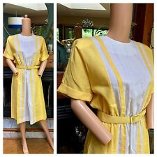 Vtg 80s Does 60s Sunny Yellow Scooter Belted A Line Twiggy Bright Mod Dress M-L