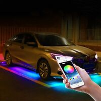 RGB Multi-Color LED Strip Under Car Tube Underglow Underbody Light App Control