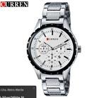 Curen 8130D-1-Silver/White Stainless Steel Watch