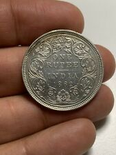 "S61 British India 1862 Silver Rupee Mint Error Missing ""O"""