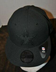 Dallas Cowboys New ERA Black Label 59Fifty Black 7.5 fitted Cap NFL NWT