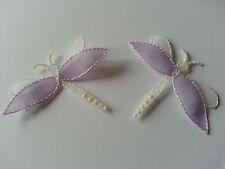 * Lace Market* 2 Purple White Dragonfly Dragonflies Motif Applique Embellishment