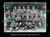 OLD LARGE HISTORIC PHOTO OF HASTINGS RUGBY UNION TEAM 1933 NEW ZEALAND