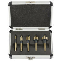 5PCs 5 Flute Countersink Drill Bit Set 82°Counter Sink Chamfer Cutter 3/4 Shank
