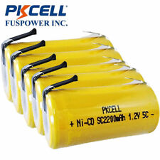PKCELL 5PCS x Ni-Cd SubC Sub C 1.2V 2200mAh Rechargeable Battery with Tab