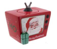Santa Claus Vintage Style Tv Television Ceramic Holiday Cookie or Treat Jar