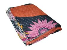 Handmade Kantha Quilt Vintage Reversible Throw Handmade Coverlets Bedspread Beds