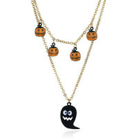 Halloween Party Pumpkin Lip Pendant Multi-layer Chain Long Necklace Jewelry