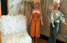 2 Barbie Dolls with full outfits.Long Hair, Hippy 1970's Attire with Double Whit