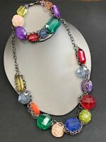 Vintage chunky large Lucite multi Color beaded necklace and bracelet set Grey