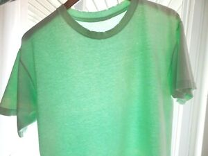 Vtg 90s Pale Green Blank Faded Distressed Single Stitch Boxy Grunge Surf T-Shirt