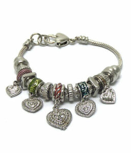 """Silvertone bracelet with hearts & bead charms , 25 charms total, 7"""""""