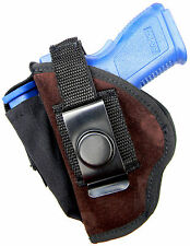 SUEDE LEATHER USA-MADE CLIP-ON/BELT SLIDE HOLSTER for LLAMA MINIMAX 9 45