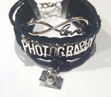 Rope Braided Infinity Love PHOTOGRAPHY Bracelet w Camera charm