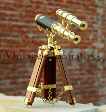 new handmade antique brass mini Double barrel 10'' telescope tripod style wooden