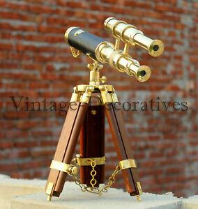 new handmade antique brass mini Double barrel 10'' telescope tripod style wooden