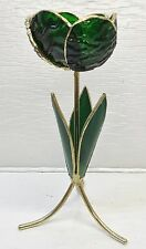 Green Glass Flower & Leaves w/Gold Trim on 3 Curved Legs