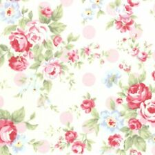 Cottage Shabby Chic Lecien Princess Rose Floral Fabric 31265L-20 w/Pink Dots BTY