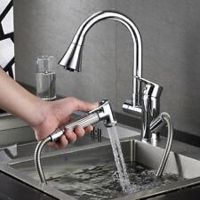 360° Swivel Spout Kitchen Sink Mixer Taps Pull out Spray Chrome Brass Mono Tap