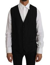 DOLCE & GABBANA Vest Black Solid Wool Silk Waistcoat s. IT44 /US34/XS