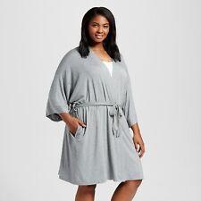 Gilligan   O malley Plus Size 1x Heather Gray Total Comfort Kimono Wrap Robe 5c3e4ec37